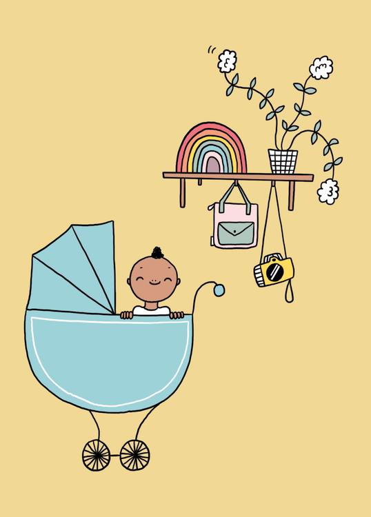 wenskaart geboorte koets