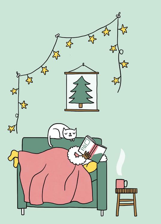wenskaart kerst boeken lezen