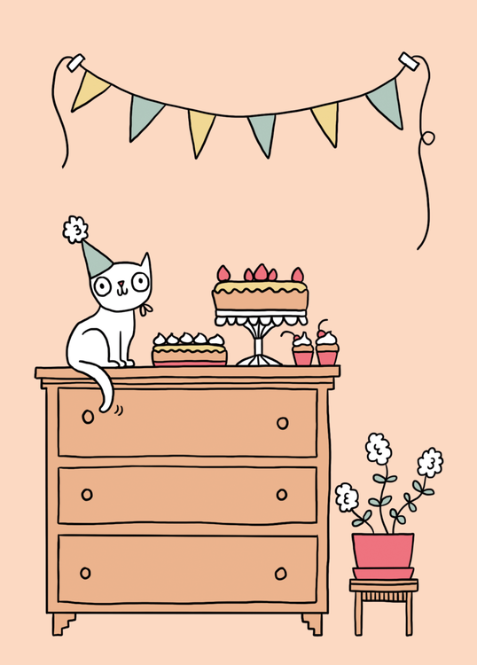 wenskaart verjaardag poes
